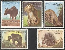 Laos 1985 Monkey/Bear/Ox/Porcupine/Pangolin/Cattle/Wildlife/Nature 5v set b8223