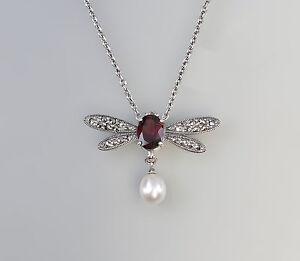 925er Silber Granat Markasiten Zuchtperle Collier Kette 9927495 Farben Sind AuffäLlig