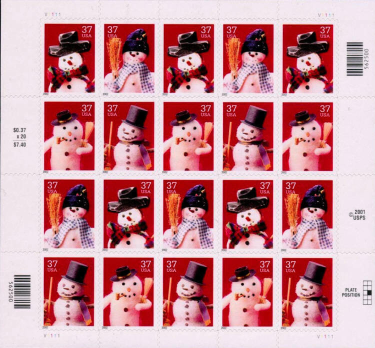 2002 37c Holiday Snowmen, Sheet of 20 Scott 3676-79 Min