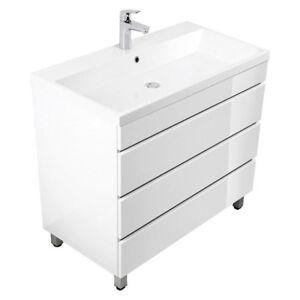 badm bel set 90 cm waschtisch waschbecken mit unterschrank wei grifflos stehend ebay. Black Bedroom Furniture Sets. Home Design Ideas