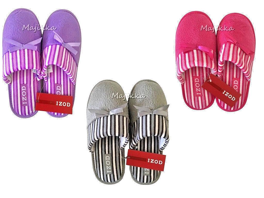 Izod Ladies Women's Slippers Scuffs Mules New Pink Purple Gray S M L Striped