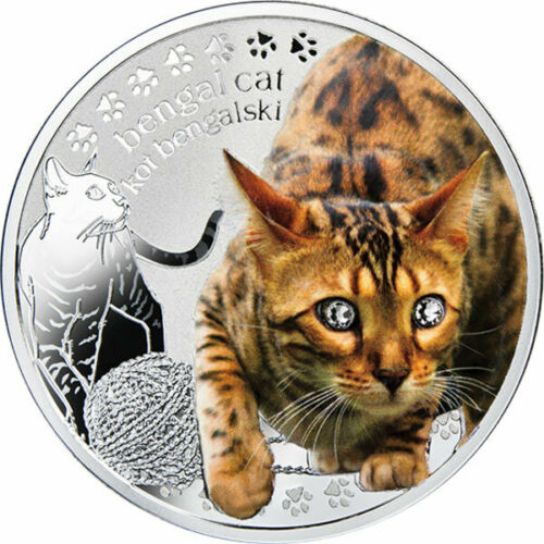 Cats Proof Silver Coin Niue 2014 1$ Bengal Cat Man's Best Friends