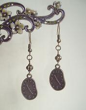 Vintage Bronze Steampunk Salvador Dali Melting Clock Drop Earrings - Art Memory