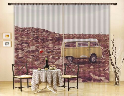 3D Stones Bus 2 Blockout Photo Curtain Printing Curtains Drapes Fabric Window AU