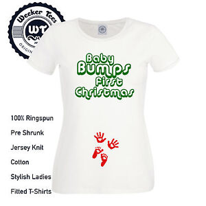 fc8985db65007 Baby Bumps First Christmas T Shirt New Pregnancy Xmas Top Maternity ...