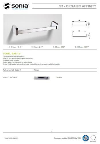 """12/"""" Sonia /""""S3 Organic Affinity/"""" 124633 Towel Rail 320mm w//Wall Fixation NIB"""