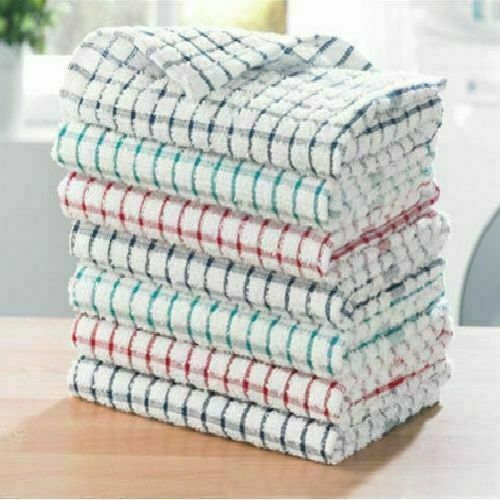 Pack Of 12 Terry 100/% Cotton Tea Towels Set Kitchen Dish Cloths Cleaning Drying