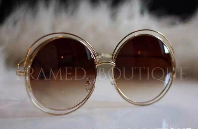 d96f7e331e Chloe Carlina Gold Oversized Round Sunglasses Boho Festival IBIZA