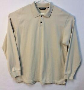 abc6d048e Eddie Bauer Men s Long Sleeved Polo Shirt Lt. Beige Sz XLTall 100 ...