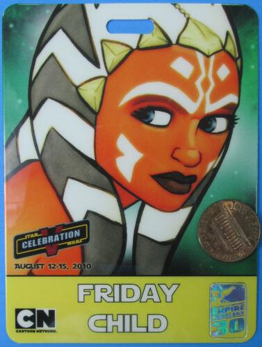Star Wars AHSOKA TANO Celebration V Convention Badge 2010 vtg FRIDAY CHILD