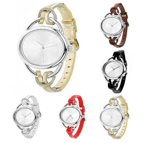 Women's Popular Great Oval Slim Faux Leather Analog Quartz Bracelet Wrist Watch