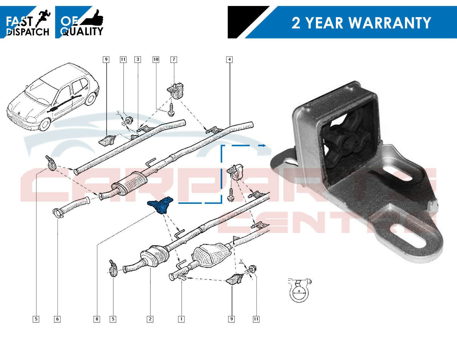 FOR CLIO 2.0 SPORT 172 182 MIDDLE EXHAUST SILENCER RUBBER MOUNTING BRACKET