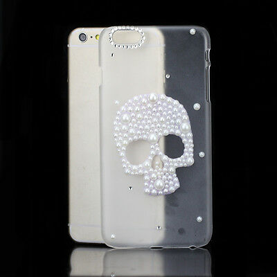 For Apple iPhone Bling Punk Style Mixed White Pearl Skull Patterned Cute Case