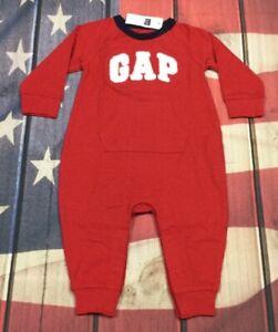 Baby-Gap-Boys-3-6-Months-Red-GAP-Logo-1-piece-Jumpsuit-Romper-Nwt