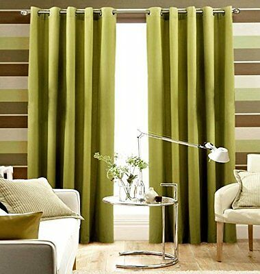 "Pair Of LIME GREEN Eyelet Ring Top BLACKOUT Curtains 53"" wide x 72"" & 90"" Drop"