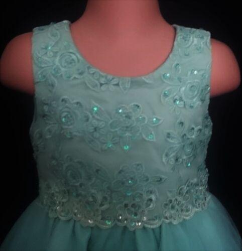 Vestido de Fiesta Mint Green Flores Niña Dama de honor Baile de graduación de Bautizo Navidad 0-6m a 13y