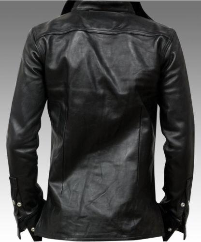 Men Genuine Lambskin Leather Shirt Premium Soft Slim Motorcycle Button Jacket