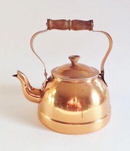 Vintage Copper Tea Kettle Wooden Handle 1 Quart Made In Portugal Stove Top Pot Ebay
