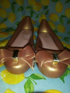 size 40 official images outlet for sale Details about Mel Dreamed By Melissa Gold Sparkly Bow Flats Shoes Sz 11  Mini Melissa