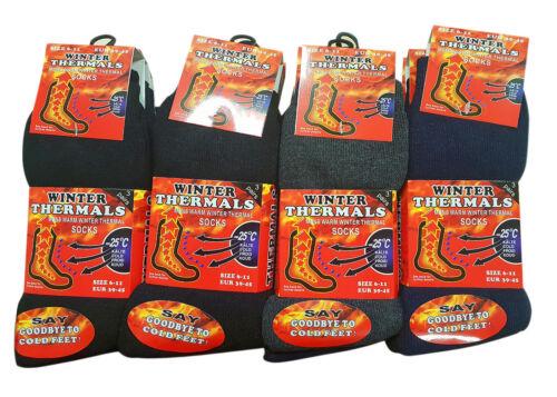 Mens Thermal Socks Outdoor Work Black Thermal Socks UK 6-11 ABS 1-12 Pairs