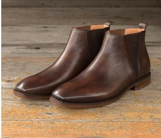 Men Handmade Chelsea Brown Boots,Men Ankle Boots,Men Casual Chukka Boots