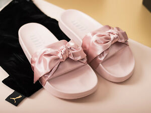 official photos e99d1 5ea5d Details about PUMA RIHANNA PINK BOW ROSE SLIDES UK US 3 4 5 6 7 8 SLIPPERS  FENTY SATIN LEADCAT