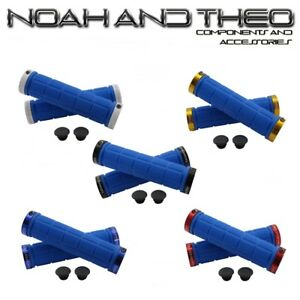 Noah And Theo Double Lock On Mountain Bike Bicycle Handlebar Grips BLACK RED