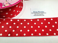 CHRISTMAS WIRE EDGED RIBBON - RED SATIN WITH WHITE POLKA DOTS