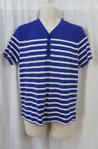 Kenneth-Cole-Reaction-Mens-Casual-Shirt-Sz-M-Blue-White-Striped-Cotton-Casual