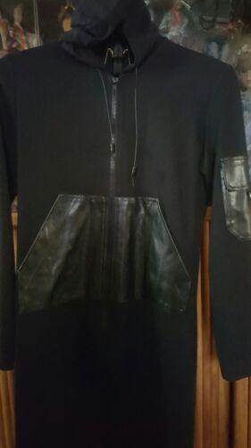 ELMA BLACK ZIP LADIES DRESS LONG SLEEVES FAUX LEAT