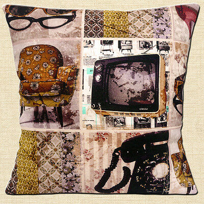"""NEW Vintage Retro 60's Home TV Telephone Chair Cotton 16"""" Pillow Cushion Cover"""