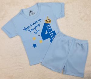 Personalised When I Wake Up 4 Prince Shorts Pyjamas Children/'s Birthday Pjs