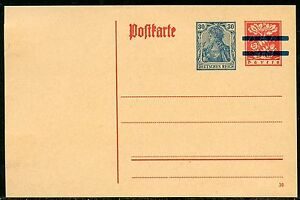 BAVARIA-RED-MINT-POSTCARD-SOLID-BAR-RE-IMPRINTED-GERMANY-GERMANIA-30-pfg