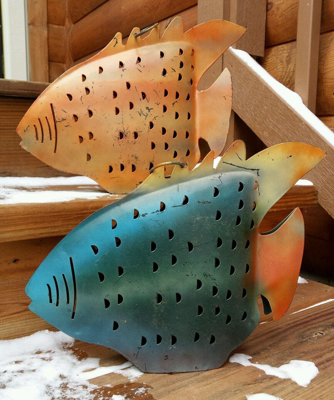 VTG Large Brutalist 2 Metal Piranha Fish Art Hanging Rustic Primitives Painted