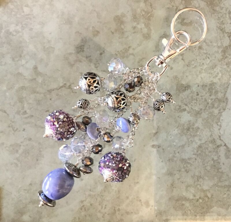 Sky Blue Ceramic Beads & Faceted Crystals Keyring Fob Purse Charm Great Gift!