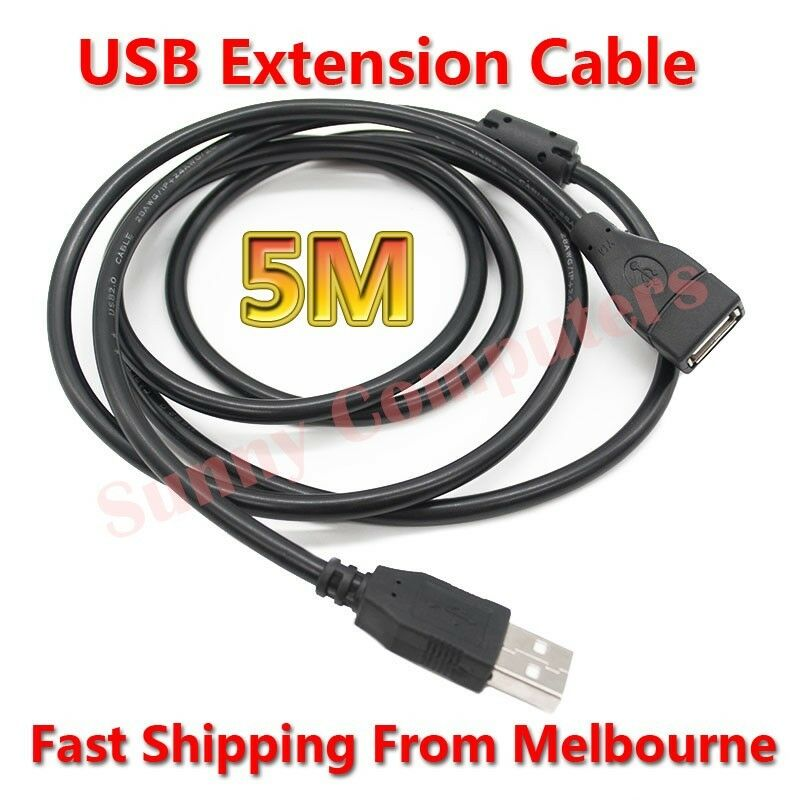 USB Extension Cable Type-A Male to Female M/F Cord With Magnetic Ring 5M Lead AU
