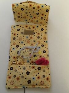 Yellow Calico flower handmade needle, scissor,sewing notion holder cotton fabric