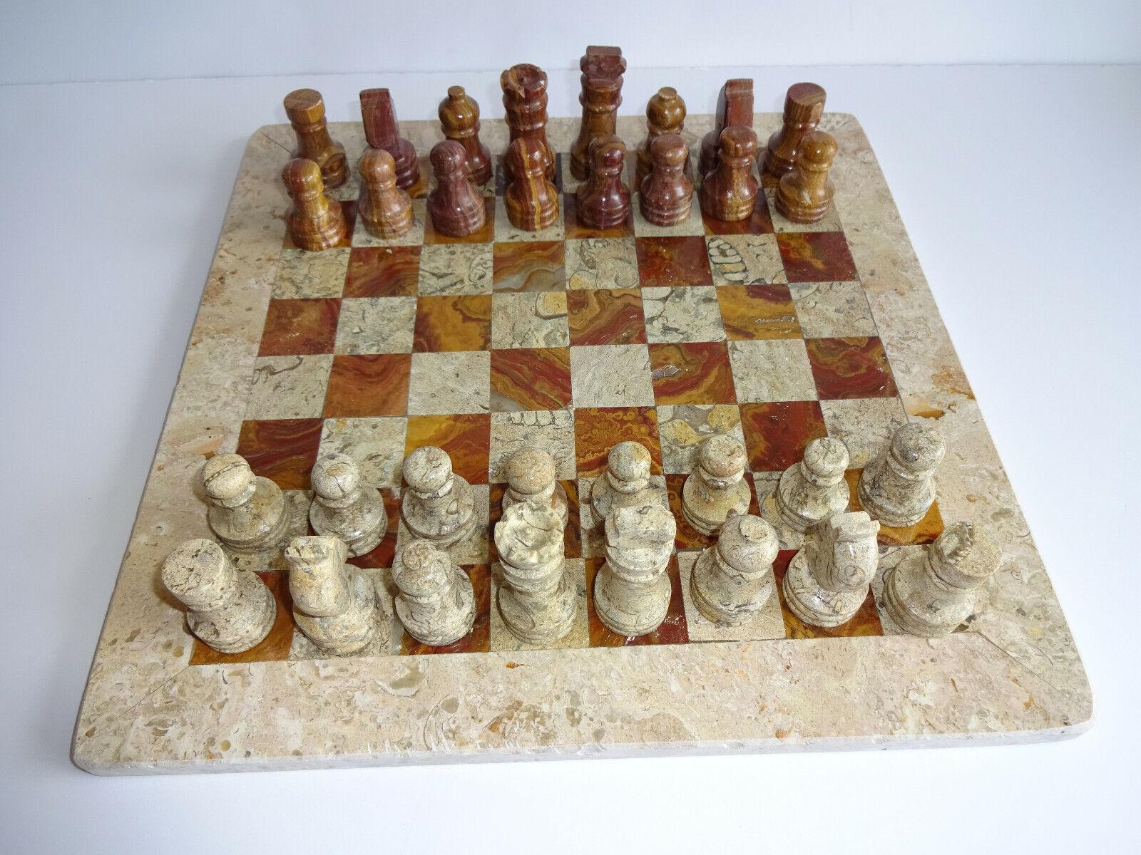 Marble Chess Set braun Tan Stone Pieces Board Game No Case 12-1 4  New NOS  1
