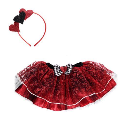 Kids Girls Queen of Hearts Wonderland Tutu Headband Fancy Dress Costume Kit Book