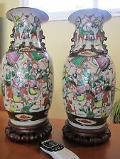 19TH C CHINESE PORCELAIN CRACKLE CRACKED GLAZE WARE FAMILLE ROSE BIG VASES