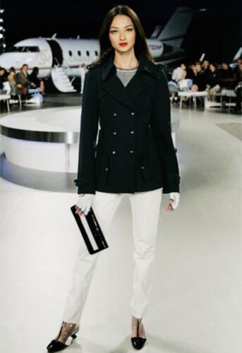 ICONIC CHANEL Navy Blue Trench Coat Jacket