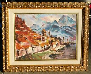 Vintage-MCM-expressionist-oil-canvas-signed-mystery-artist-18-x-24