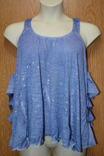 Womens Pretty Blue Ruffled William Rast Sleeveless Shirt Size XL NWT NEW