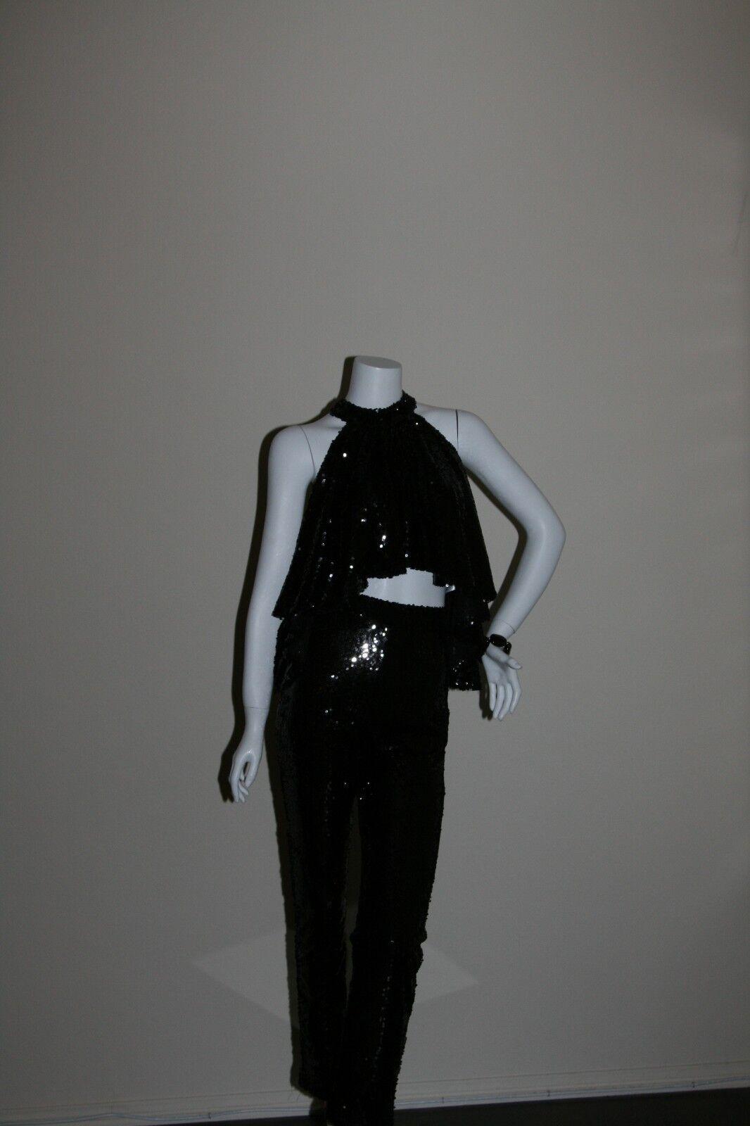 Gorgeous schwarz Sequin 2 Piece pant set sleeveless halter top