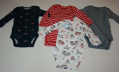 New Carter/'s 4 Pack Boys Bodysuit Tops NWT 3m 12m 18m 24m Red Fire Truck Dog