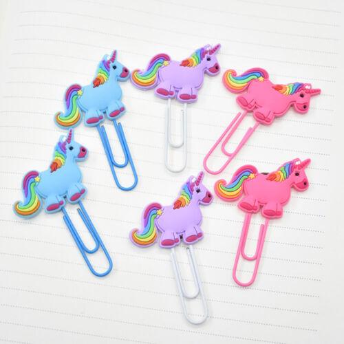 2PC Cute Cartoon Unicorn Animals Paper Clip Holder Note Mark Bookmark Stationery