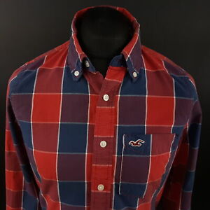 Hollister-Mens-THICK-Shirt-MEDIUM-Long-Sleeve-Red-SLIM-FIT-Check-Cotton