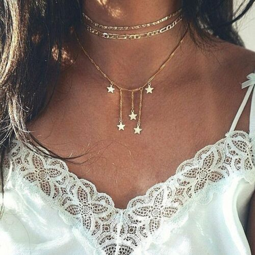 Fashion Multilayer Boho Women Clavicle Choker Pendant Necklace Charm Chain Party