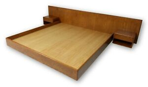 New Hand Crafted In Usa Danish Inspired Floating Platform Bed Nightstands Mcm Ebay