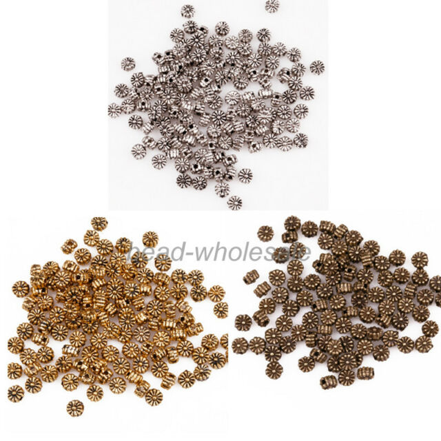 200Pcs New Lots Retro Silver/Gold/Bronze Metal Daisy Beads Jewelry Finding Bead